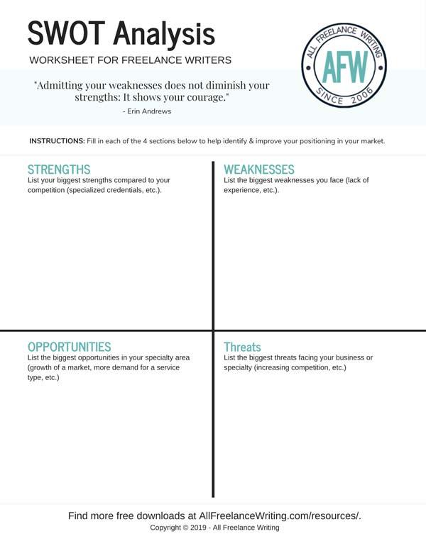 SWOT Analysis Worksheet for Freelance Writers - All Freelance Writing