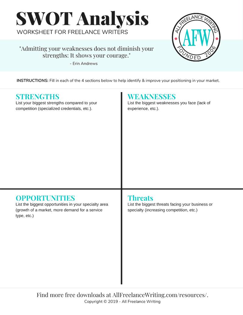 SWOT Analysis Worksheet for Freelance Writers - AllFreelanceWriting.com