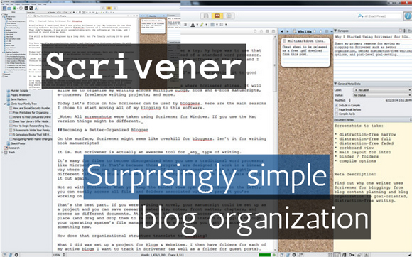 Scrivener: Surprisingly Simple Blog Organization