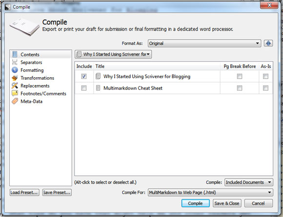 Scrivener Compile Options