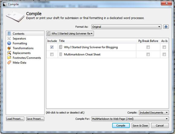 Scrivener Compile Options