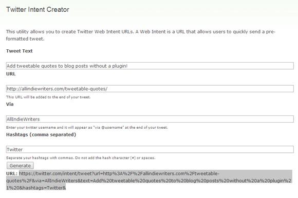 Twitter Intent Creator