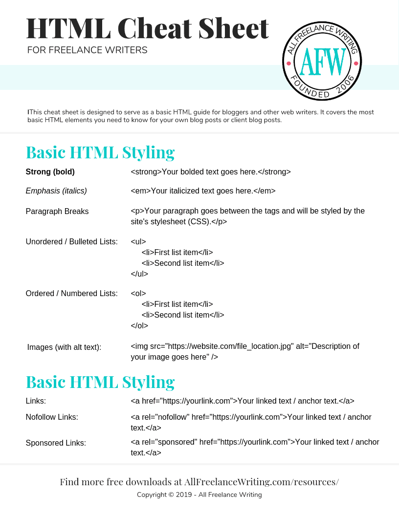 HTML Cheat Sheet for Freelance Writers - All Freelance Writing