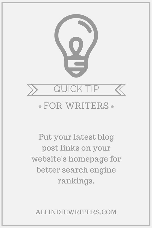 Quick tip: Put your latest blog post links on your website's homepage for better search engine rankings.