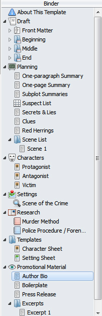 Scrivener Mystery Template Binder View
