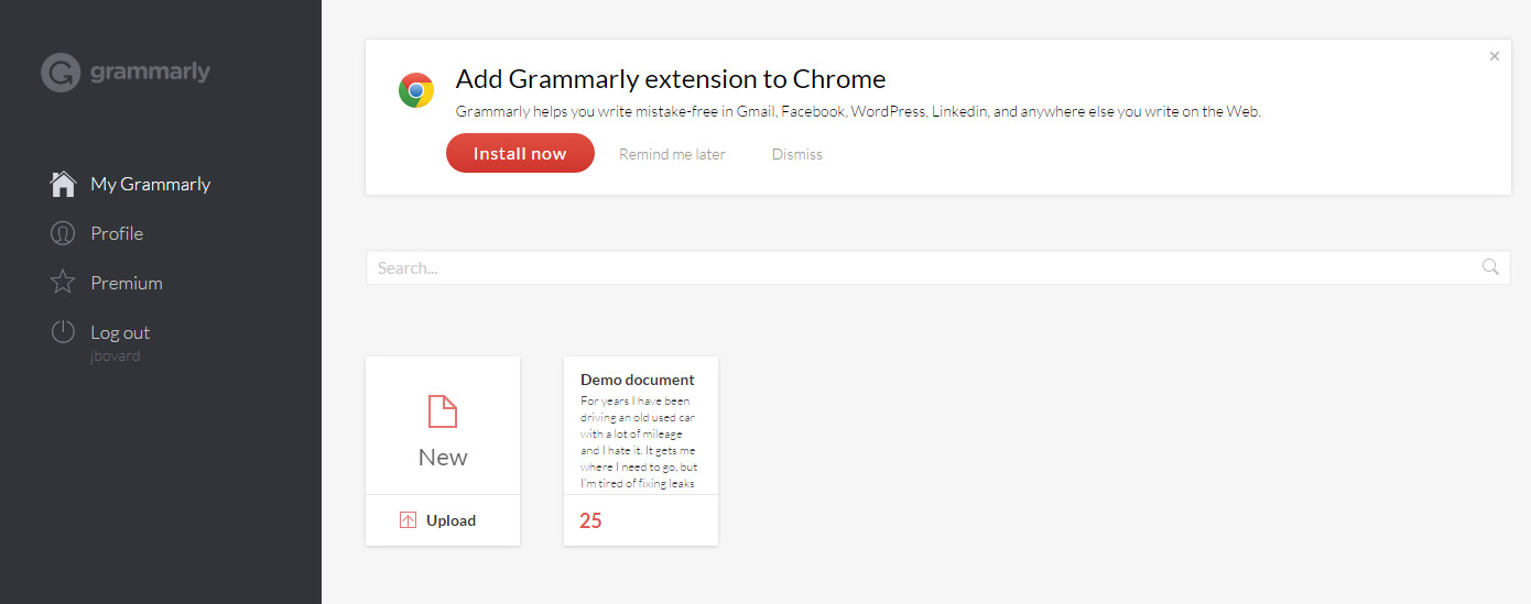 New Document Button for Grammarly Web App