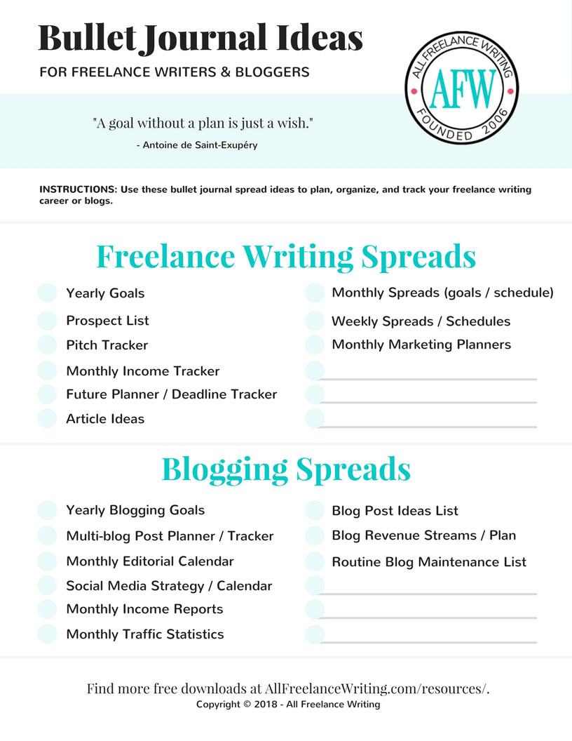 Bullet Journal Ideas for Freelance Writers and Bloggers - All Freelance Writing