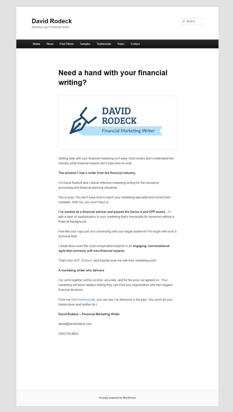 David Rodeck - Freelance Writer Website