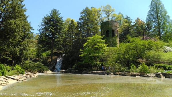 chimes tower and waterfall