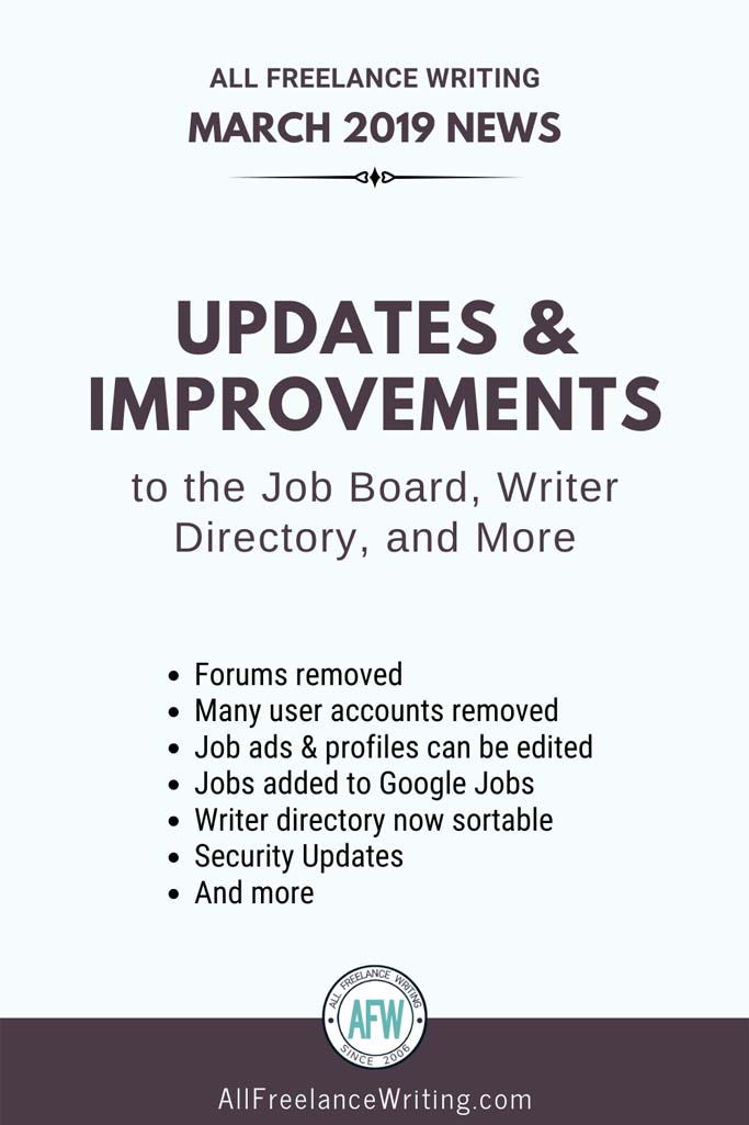 March 2019 Updates and Improvements to the Job Board, Writer Directory, and More - All Freelance Writing