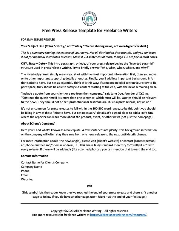 Press Release Template for Freelance Writers - All Freelance Writing