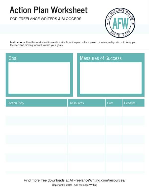 Action Plan Worksheet - All Freelance Writing