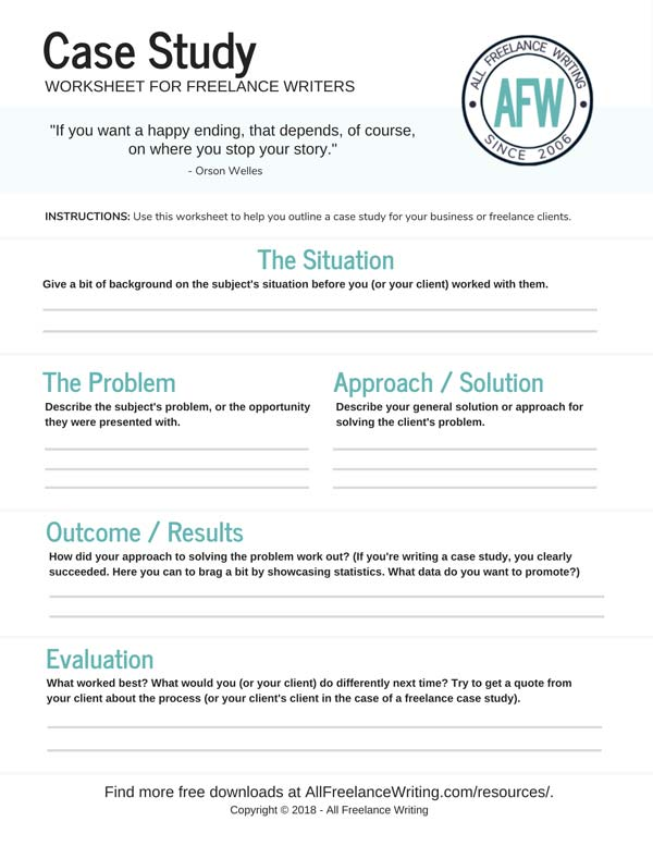 Case Study Worksheet for Freelance Writers - All Freelance Writing