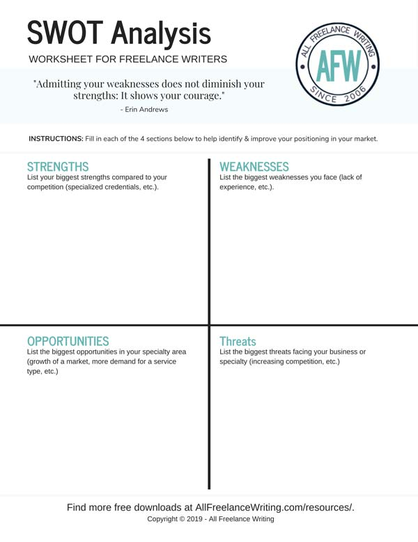 Free SWOT Analysis Worksheet for Freelance Writers - All Freelance Writing