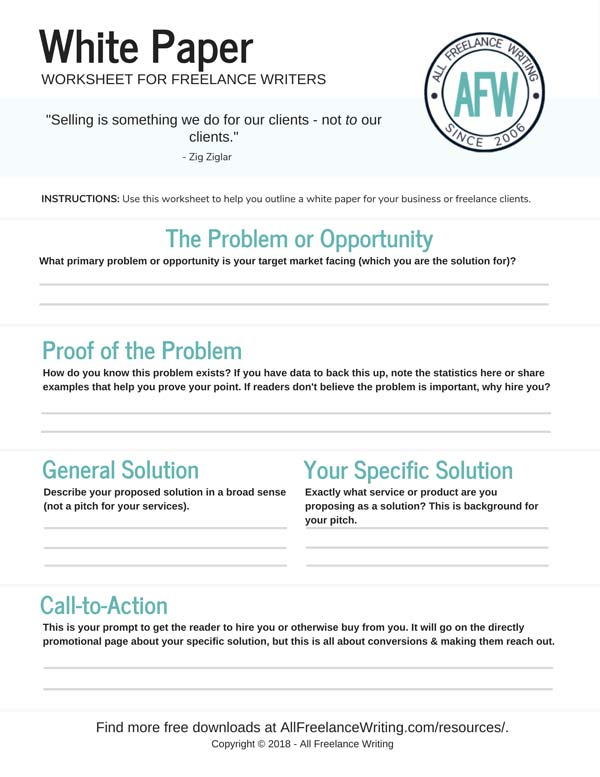 White Paper Worksheet for Freelance Writers - All Freelance Writing