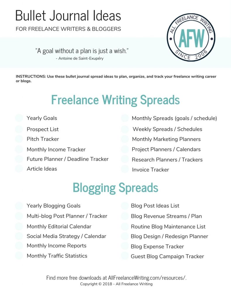 Bullet Journal Spreads for Writers - AllFreelanceWriting.com